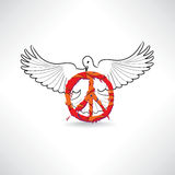 Peace symbol. Dove with pacifism sign isolated Royalty Free Stock Photo