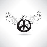 Peace symbol. Dove with pacifism sign isolated. International pe Stock Photo