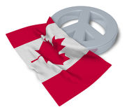 Peace symbol and flag of canada Royalty Free Stock Images