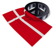 Peace symbol and flag of denmark Royalty Free Stock Photos