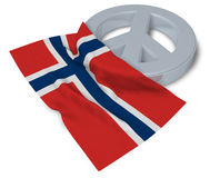 Peace symbol and flag of norway. 3d rendering Royalty Free Stock Photos