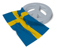 Peace symbol and flag of sweden Stock Images