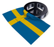 Peace symbol and flag of sweden Royalty Free Stock Images