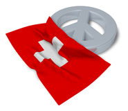Peace symbol and flag of switzerland Stock Photos