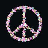 Peace symbol of flowers Stock Photo