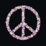 Peace symbol of flowers Stock Photo