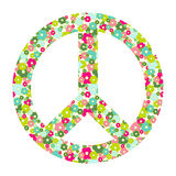 Peace symbol with flowers Royalty Free Stock Images