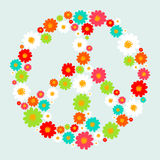 Peace symbol with flowers Stock Images