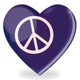 Peace symbol heart shape. Isolated 3d heart shape made up of the Peace symbol Royalty Free Stock Image