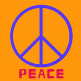 Peace symbol icon vector friendship pacifism on orange background Flat design Vector Royalty Free Stock Photos