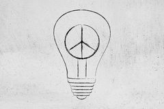 Peace symbol inside lightbulb, peaceful future ideas Royalty Free Stock Photos