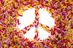 The peace symbol inside of petals Royalty Free Stock Images