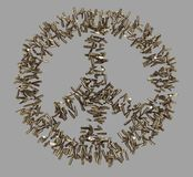 Peace symbol made of bullets Royalty Free Stock Photo