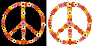 Peace symbol made from flowers Royalty Free Stock Images