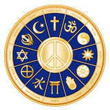 Peace Symbol, Many Faiths, Blue. International Symbol of Peace with 12 world religions: Buddhism, Islam, Hinduism, Taoism, Christianity, Sikhism, Judaism Royalty Free Stock Photo