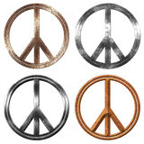 Peace symbol. Metal a little aged Stock Photo