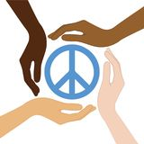 Peace symbol in the middle of human hands different skin colors vector illustration
