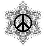 Peace symbol over decorative ornate background mandala round pat Royalty Free Stock Images