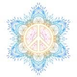 Peace symbol over decorative ornate background mandala round pat Stock Image