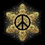 Peace symbol over decorative ornate background mandala round pat Stock Photo