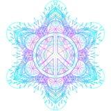 Peace symbol over decorative ornate background mandala round pat Stock Images