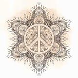 Peace symbol over decorative ornate background mandala round pat Stock Photos