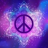 Peace symbol over decorative ornate background mandala round pat Royalty Free Stock Image
