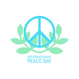 Peace Symbol with olives branches in light colors for poster Stock Photo