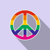Peace symbol rainbow flat icon Royalty Free Stock Photo