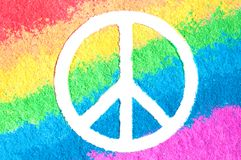 Peace symbol on rainbow. No war concept Stock Images