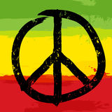 Peace symbol and rastafarian colors in background,  Royalty Free Stock Photography