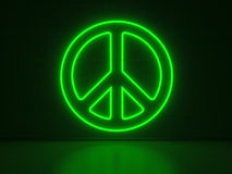 Peace Symbol - Series Neon Signs Stock Photo
