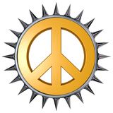 Peace. Symbol with spikes on white background - 3d rendering Stock Photography