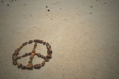 Peace symbol stones hipster summer beach Royalty Free Stock Photography