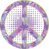 Peace symbol with texture of cannabis. Stock Photo