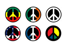 Peace Symbols. A collection of 6 World Peace Symbols Stock Images