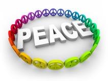 Peace Symbols Around the Word Royalty Free Stock Photo