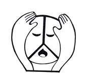 Sad hippie peace symbol `Pacific`. A of peace symbols have been used many ways in various cultures and contexts. In the 1950s the `peace sign`, as it is known Stock Photography