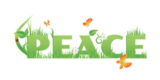Peace. / text decorated with,flowers,water drops and ladybug   on white Royalty Free Stock Photos