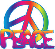 PEACE text and PEACE sign. Hand drawn PEACE text filled with colorful gradient and PEACE sign filled with rainbow gradient Royalty Free Stock Image