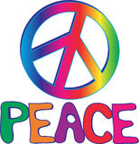 PEACE text and sign. Rainbow PEACE sign with hand drawn text Royalty Free Stock Photography