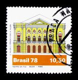 Peace Theatre, Belem (Para), Brazilian Theater serie, circa 1978. MOSCOW, RUSSIA - NOVEMBER 26, 2017: A stamp printed in Brazil shows Peace Theatre stock photo