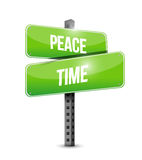 Peace time street sign illustration design. Over a white background Royalty Free Stock Images