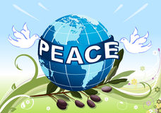 Peace to the Earth with white doves Stock Photo
