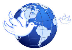 Peace to the World with doves over white Royalty Free Stock Image