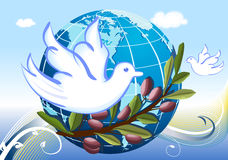 Peace to the World with white doves. Peace to the World - our planet Earth surrounded by a branch of olive tree and a pair of white doves. Raster illustration vector illustration