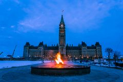 Peace Tower and Centennial Flame Ottawa, Canada. View of Peace Tower and Centennial Flame at Parliament complex Ottawa, Canada Royalty Free Stock Images