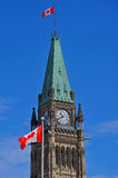 Peace Tower with Flag Stock Photography