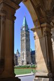 Peace Tower of Parliament Buildings, Ottawa. Peace Tower, viewed from gate in East Block of Parliament Buildings, Ottawa, Ontario, Canada Stock Photography