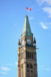 The Peace Tower. On Parliament Hill in Ottawa, Canada Royalty Free Stock Photo
